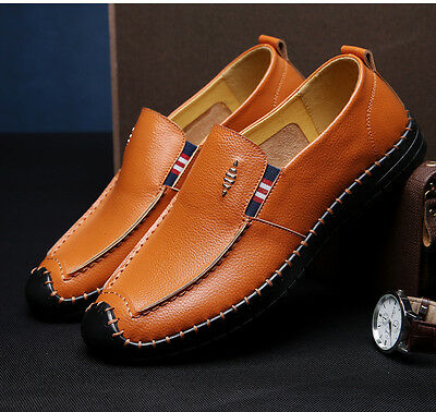 2017 Spring Men's Casual Genuine Leather Shoes Slip on Brown Shoes