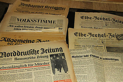 GERMANY - 1950's & 60's VINTAGE NEWSPAPERS COVERING WORLD/GERMAN HISTORY x 10