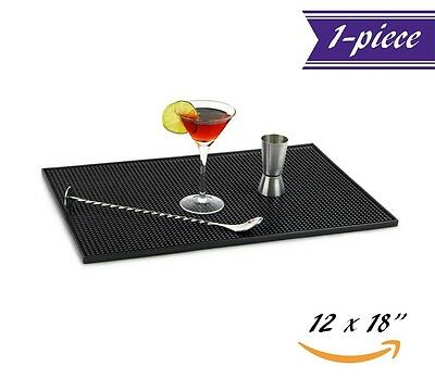 "Bar Service Mat Anti Spill Beer Shots Wine Pad Black Rubber Barware 18"" x 12"""