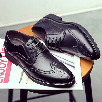 Mens Lace Up Wingtip Business Formal Dress Oxford Genuine Leather Brogue Shoes