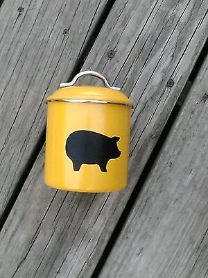 "Small 5"" Tall - Super Cute Yellow Metal Canister With Pig Print"