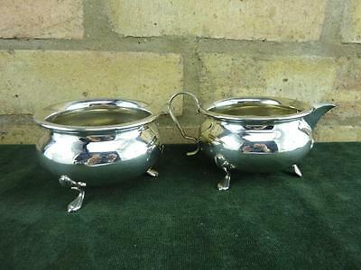 nice Vintage EPNS small sugar bowl and milk cream jug silver plated with feet
