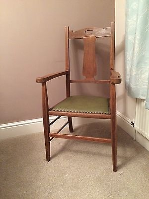 Antique Arts and Crafts Elbow Chair, Carver Chair, Edwardian Victorian