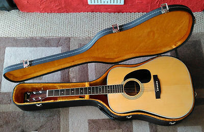 Vintage Yamaki YW-30 Dreadnought Acoustic Guitar with hard case. Made in Japan