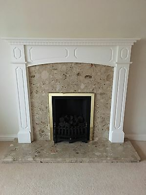 Fire Surround With Marble Upright And Hearth - FIRE NOT INCLUDED