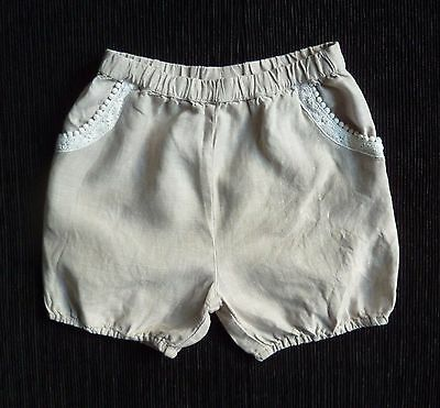 Childrens/kids clothes GIRL 2-3 years 98cm NEXT linen/lace smart shorts coffee