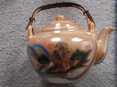 Charming Vintage Oriental Style Iridescent Teapot with Bamboo Handle