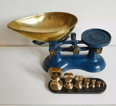 Victor Blue Cast Iron Kitchen Scales with Imperial Weights Stand - Robert Welch