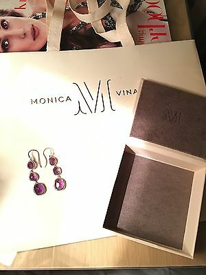 Monica Vinader Siren Wire Cocktail Earrings Purple With Sterling Silver New