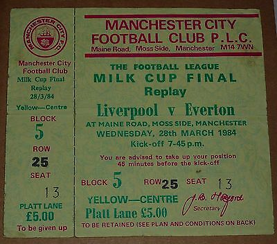 1984 Milk League Cup Final Replay Liverpool V Everton Unused Ticket