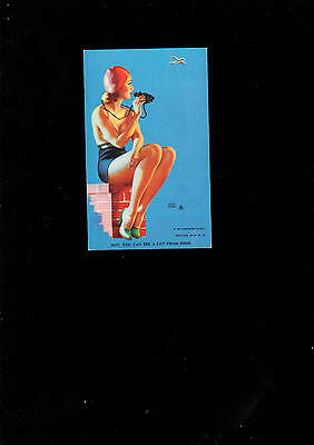 Pin-up Girl Karte Boy you can see a lot from here  1945  Mutoscope Card U.S.A.