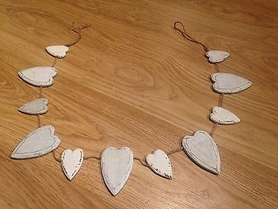 Wooden white heart hanging bunting shabby chic decoration