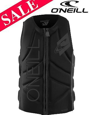 NEW O'Neill Slasher Zip Wakeboard Waterski Impact Vest Small Black SAVE 28%