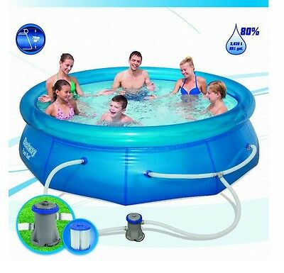 Swimming Pool Set Bestway 10' Inflatable Family Round Fast Set Pool