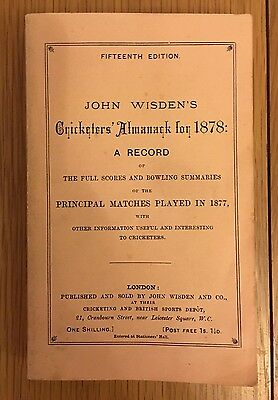 Very Rare 1878 Wisden Cricket Almanack Reprint