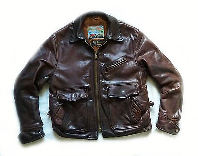 "Stunning Aero "" Half Belt Deluxe "" Vintage Leather Motorcycle Jacket - 40 - £695"