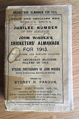 Rare 1913 Wisden Cricket Almanack Good Condition