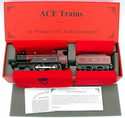 """ACE Trains E3 """"0"""" gauge 3-Rail Electric 4-4-0 Tender Loco LMS Red livery- Boxed"""
