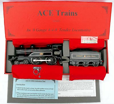 """ACE Trains E3 """"0"""" gauge 3-Rail Electric 4-4-0 Tender Loco in GCR Black - Boxed"""