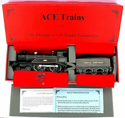 """ACE Trains E3 """"0"""" gauge 3-Rail Electric 4-4-0 Tender Loco in GWR Green - Boxed"""
