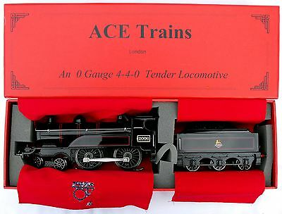 """ACE Trains E3 """"0"""" gauge 3-Rail Electric 4-4-0 Tender Loco in BR Black - Boxed"""