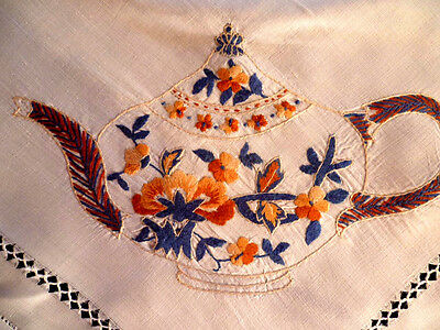 Stunning Cup/Saucer/Plate/Tea Pot/Water Jug ~Vintage Hand Embroidered Tablecloth