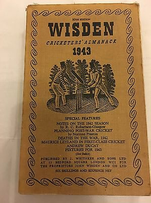 Rare 1943 Wisden Cricket Almanack Cloth Wrappers