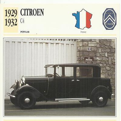 CITROEN C4 1929 - 1932 original 2-sided Edito collector's trading card