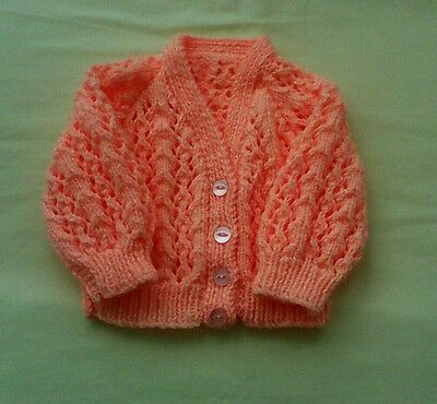 HAND KNITTED BABY CARDIGAN. (0-3 months)