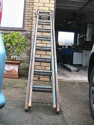 Vintage Wooden Ladder Possibly Naval Ww1/2? Blue Paint With Markings M106