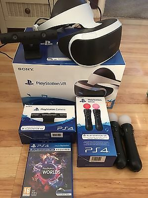PlayStation VR Headset with Camera and 2 Move Controllers plus Game