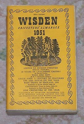 RARE 1951 WISDEN Cricketers' Almanack Limp Cloth Book WORRELL WEEKES EVANS