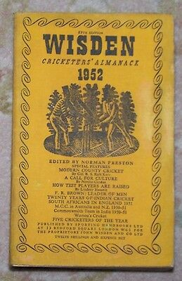 RARE 1952 WISDEN Cricketers' Almanack Limp Cloth Book MAY LAKER DOLLERY