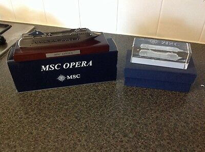 MSC Opera Cruise Ship Model And Crystal Model Block