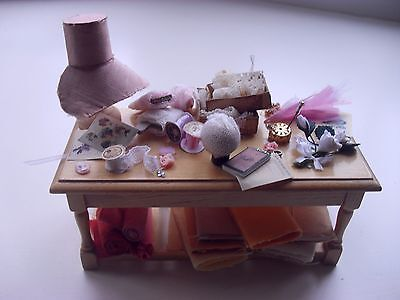 miniature 1/12th handmade victorian hat making table millinery by victoria lane
