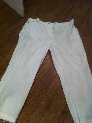 New Ladies Size 22 Casual Plus Size White Trousers M&S £18 Cheap Clothes