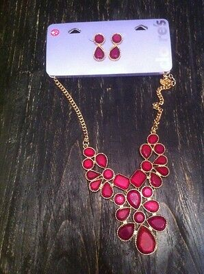 New Pretty Necklace Statement Neckless Matching Earrings Set Gift Rrp £14 Cheap