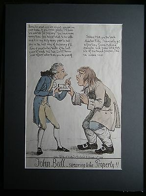 John Bull Swearing to his Property! In the style of Gillray Original Caricature