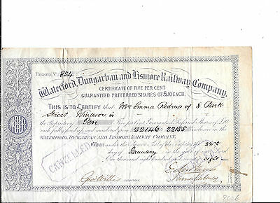 Waterford Dungarban And Lismore Railway---1888---Stock Certificate