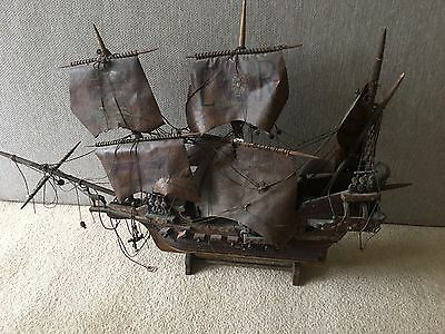 Vintage Antique Wooden Model Pirate Ghost Ship Galleon Boat Gothic Goth Deco
