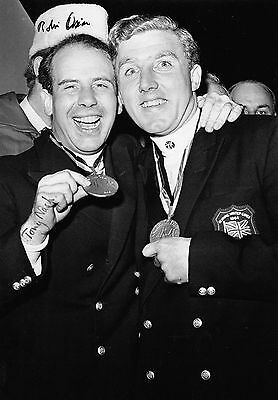 robin dixon and tony nash holding gold medals bobsleigh 1964 signed 12x8 photo