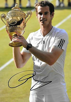 andy murray celebrating with wimbledon champion 2013 signed 12x8 photo PROOF
