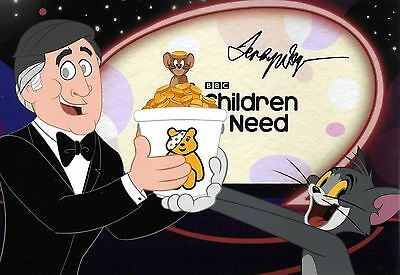 terry wogan CHILDREN IN NEED CARTOON TOM AND JERRY signed 12x8 photo
