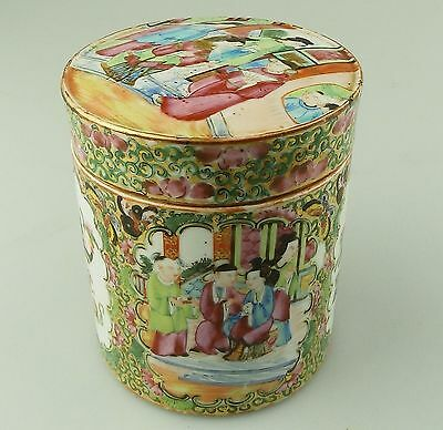 Antique Oriental Porcelain : A large Chinese Canton Jar & Cover C.19thC