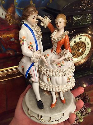 Big Porcelain French Man & Woman Dancing Lace Marie Antoinette Figurine German?