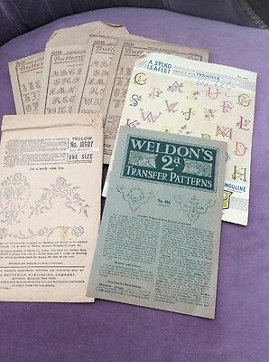 Vintage Butterick Embroidery Transfers, Lettering, In Original Envelopes