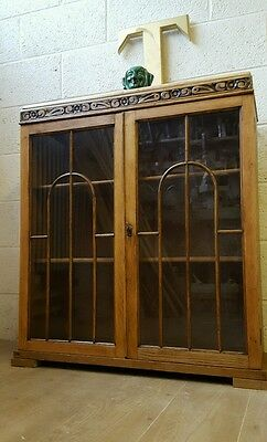 Solid Oak Edwardian Glazed Bookcase / Display Cabinet