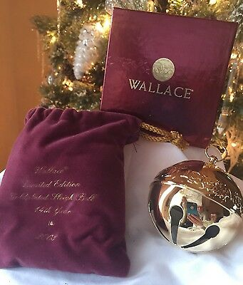 7 Wallace Silver Co. GOLD Plated Christmas Jingle Sleigh Bell Ornaments Lot NEW