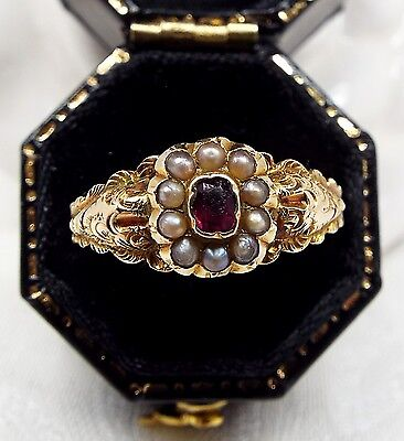 Antique 9ct Gold Georgian Victorian Ring Ornate Paste Ruby & Pearl Ring / Size R