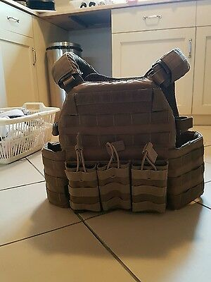 Warrior Assault Systems DCS Plate Carrier in tan with 3 mag pouches